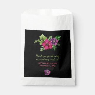 ショッキングピンクの紫色の緑の花の結婚式の引き出物のバッグ フェイバーバッグ