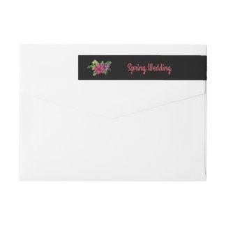 ショッキングピンクの紫色の緑の花の結婚式 ラップアラウンドラベル