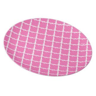 ショッキングピンクの絞り染め プレート
