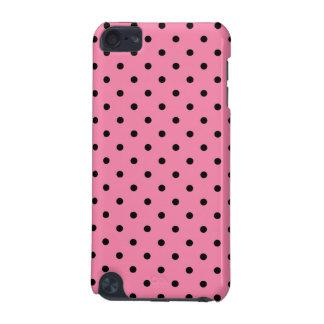 ショッキングピンクの背景の小さく黒い水玉模様 iPod TOUCH 5G ケース