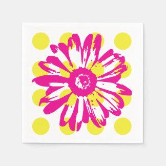 ショッキングピンクの花の紙ナプキン スタンダードカクテルナプキン