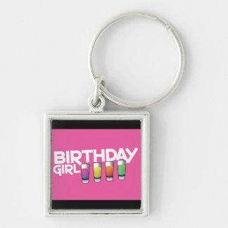 ショッキングピンクの誕生日の女の子の挨拶状! キーホルダー