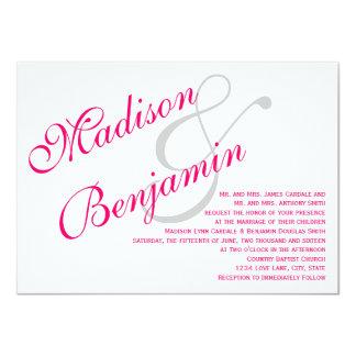 ショッキングピンクの赤紫のシンプルな結婚式招待状 カード