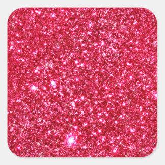 ショッキングピンクの赤紫の小さいスパンコールのグリッターのプリント スクエアシール
