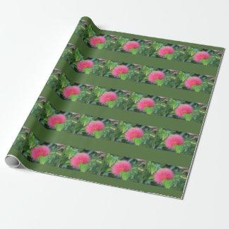 ショッキングピンクの野生の花のテーマのギフト用包装紙 ラッピングペーパー