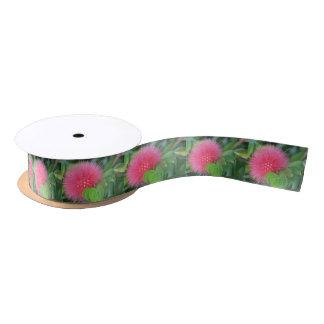 ショッキングピンクの野生の花のテーマのリボン サテンリボン