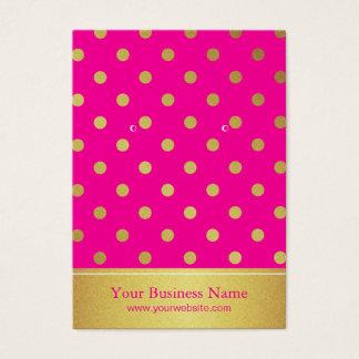 ショッキングピンクの金ゴールドのグリッターの点のイヤリングの表示カード 名刺