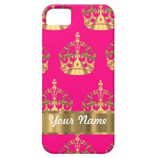 ショッキングピンクの金ゴールドの王冠 iPhone SE/5/5s ケース