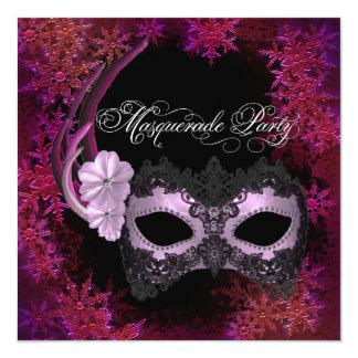 ショッキングピンクの雪片の仮面舞踏会のパーティの招待状 カード