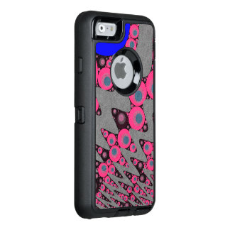 ショッキングピンクの青い波状の抽象芸術 オッターボックスディフェンダーiPhoneケース