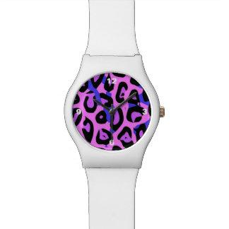 ショッキングピンクの青の抽象芸術のチータ 腕時計