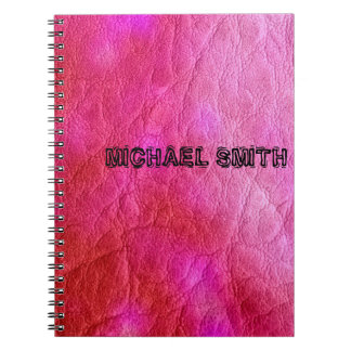 ショッキングピンクの革 ノートブック