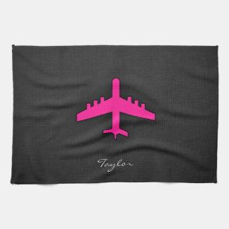 ショッキングピンクの飛行機 キッチンタオル