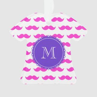 ショッキングピンクの髭パターン、紫色の白いモノグラム オーナメント