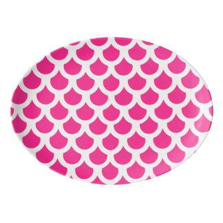 ショッキングピンクの魚スケール2 磁器大皿