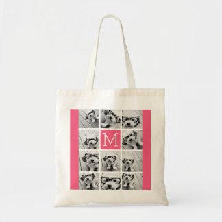 ショッキングピンクのInstagramの写真のコラージュのカスタムのモノグラム トートバッグ