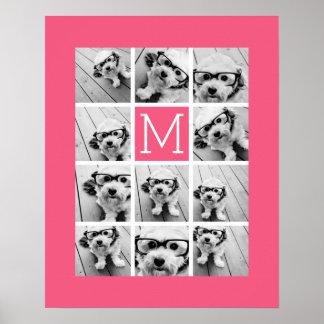 ショッキングピンクのInstagramの写真のコラージュのカスタムのモノグラム ポスター