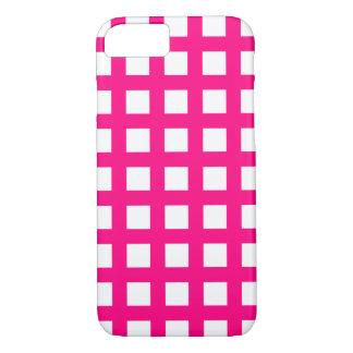 ショッキングピンクのiPhone 7つのケース-格子点検 iPhone 8/7ケース