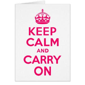 ショッキングピンクのKeep Calm and Carry On カード