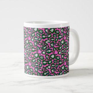 ショッキングピンクのSpearmintのチータの抽象芸術 ジャンボコーヒーマグカップ
