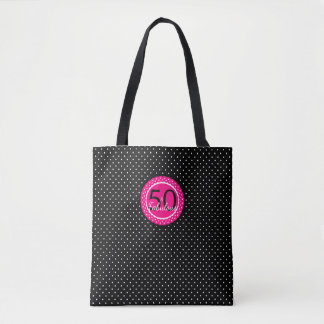 ショッキングピンクは50及びすばらしい誕生日プレゼントを黒くし、 トートバッグ