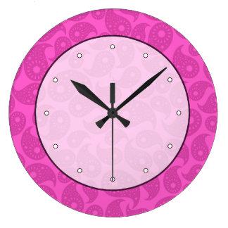 ショッキングピンクペーズリー ラージ壁時計