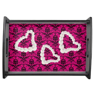ショッキングピンク及び黒いダマスク織の小さいトレイ トレー