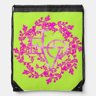 ショッキングピンク愛花のファッションのひものバックパック ナップサック
