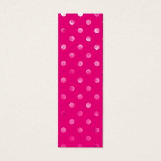 ショッキングピンク金属模造のなホイルの水玉模様のスイス人の点 スキニー名刺