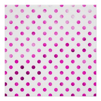 ショッキングピンク金属模造のなホイルの水玉模様の白 ポスター