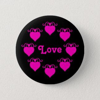 ショッキングピンク黒のガーリーな愛ハート 5.7CM 丸型バッジ