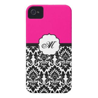 """""""ショッキングピンク""""のダマスク織のレースID™のiPhone 4/4Sの場合を黒くして下さい Case-Mate iPhone 4 ケース"""