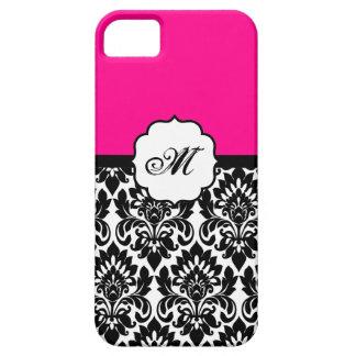 """""""ショッキングピンク""""のダマスク織のレースID™のiPhone 5の場合を黒くして下さい iPhone SE/5/5s ケース"""