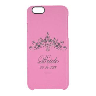 ショッキングピンク、王冠を持つ花嫁、 クリアiPhone 6/6Sケース