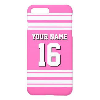 ショッキングピンク#2の白いチームジャージーカスタムな数名前 iPhone 7 PLUSケース