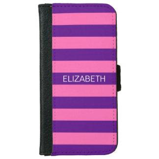 ショッキングピンク#2紫色のHorizのプレッピーでストライプなモノグラム iPhone 6/6s ウォレットケース