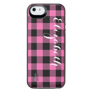 ショッキングピンクBlkのバッファローの点検の格子縞の名前のモノグラムNL iPhone SE/5/5sバッテリーケース