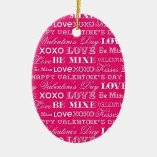 ショッキングピンクXOXO愛は鉱山のハッピーバレンタインデーです セラミックオーナメント