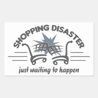 ショッピングの災害のステッカー 長方形シール