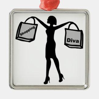ショッピングの花型女性歌手 メタルオーナメント
