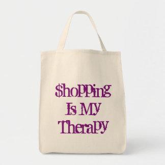 ショッピングは私のセラピーの食料雑貨の戦闘状況表示板です トートバッグ