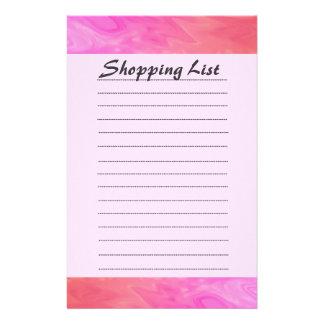 ショッピング・リストのピンクおよびオレンジデザイン 便箋