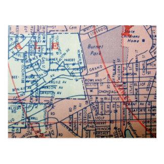 シラキュースのNYのヴィンテージの地図の郵便はがき 葉書き