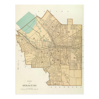 シラキュースニューヨーク(1895年)のヴィンテージの地図 ポストカード