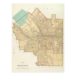 シラキュースニューヨーク(1895年)のヴィンテージの地図 葉書き