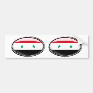 シリアの旗のガラス楕円形 バンパーステッカー