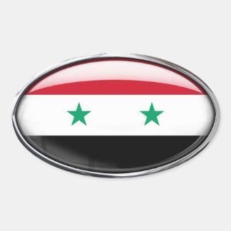 シリアの旗のガラス楕円形 楕円形シール