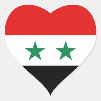 シリアの旗のハートのステッカー ハートシール