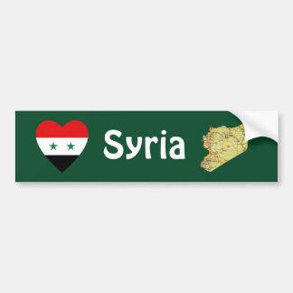 シリアの旗のハート + 地図のバンパーステッカー バンパーステッカー