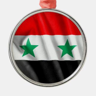 シリアの旗の円形の金属のクリスマスのオーナメント メタルオーナメント